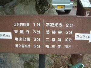 大河内山荘の道標